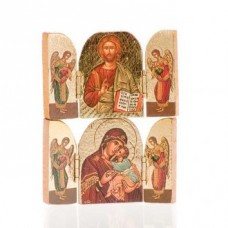 Wooden Triptic/Icon Our Lady/Our Lord