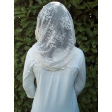 Mantilla Infinity Scarf with spray of flowers lace