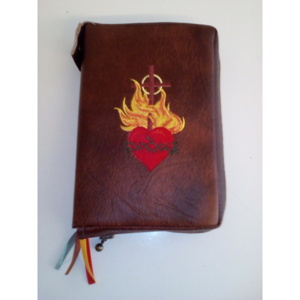 Zipped leatherette book/missal cover/pouch
